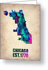 Chicago Watercolor Map Greeting Card