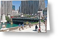Chicago's Dusable Bridge On N. Michigan Avenue Greeting Card