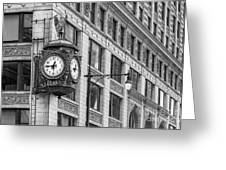 Chicago's Father Time Clock Bw Greeting Card
