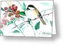 Chickadee And Berries Greeting Card