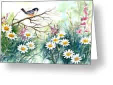 Chickadee And Daisies Greeting Card