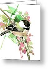 Chickadee And Spring Blossom Greeting Card