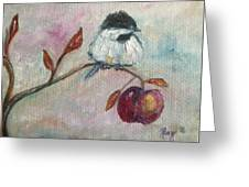 Chickadee On An Apple Tree Greeting Card
