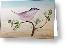Chickadee Standing On A Branch Looking Greeting Card
