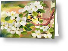 Chickadees In The Dogwood Tree Greeting Card