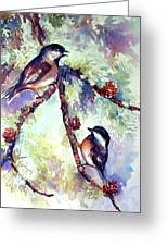 Chickadees On Twig Greeting Card