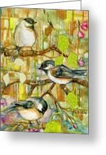 Chickadees Three Greeting Card