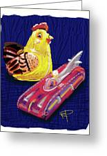 Chicken And Rocket Car Greeting Card