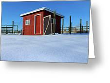 Chicken Coop In Snow Covered Field Greeting Card