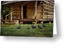 Chickens - Log House - Farm Greeting Card