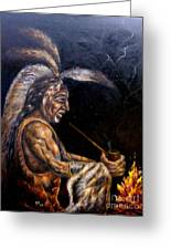 Chief At The Campfire Greeting Card