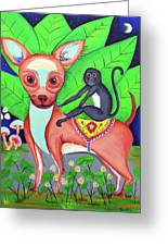 Chihuahuaw/monkie Greeting Card