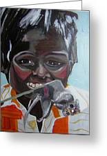 Child Eating A Rat 2007 For The Love Of Money Greeting Card