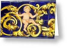Child In Blue And Gold Greeting Card