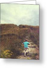 Child On Stairs On Beach Greeting Card