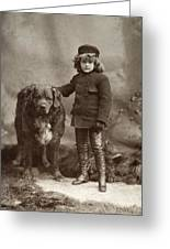 Child With Dog, C1885 Greeting Card