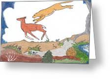 Childhood Drawing Cougar Attacking Deer Greeting Card