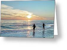Children At Play On A Florida Beach  Greeting Card