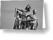 Children At Play Statue B W Greeting Card