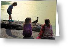 Children At The Pond 1 Greeting Card