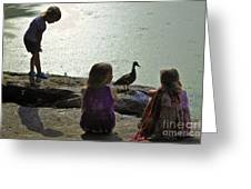 Children At The Pond 1 Version 2 Greeting Card