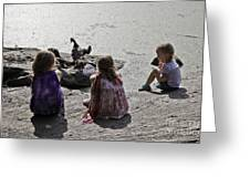 Children At The Pond 2 Greeting Card