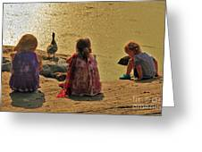Children At The Pond 4 Greeting Card