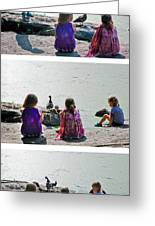 Children At The Pond Triptych Greeting Card