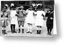 Children Brushing Teeth Greeting Card
