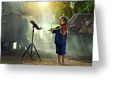 Children In Folk Costumes Playing Violin In Thailand Greeting Card