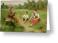 Children Listen To A Shepherd Playing A Flute Greeting Card