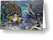 Children On The Shore. Javea Greeting Card