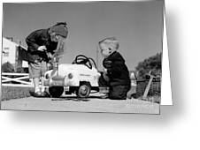 Children Play At Repairing Toy Car Greeting Card