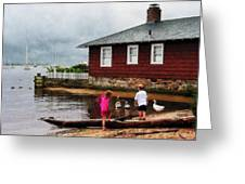 Children Playing At Harbor Essex Ct Greeting Card