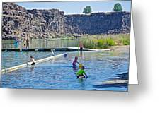 Children Playing In Dierkes Lake In Snake River Above Shoshone Falls Near Twin Falls-idaho  Greeting Card