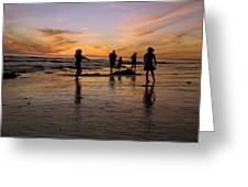 Children Playing On The Beach At Sunset Greeting Card