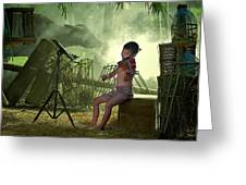 Children Playing Violin In The Folk Style. Greeting Card