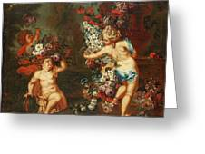 Children Playing With Flowers Greeting Card
