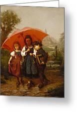 Children Under A Red Umbrella Greeting Card