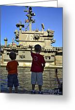 Children Wave As Uss Ronald Reagan Greeting Card