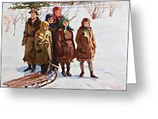 Children With A Sled Nikolai Petrovich Bogdanov-belsky Greeting Card