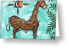 Childrens Nursery Art Original Giraffe Painting Playful By Madart Greeting Card
