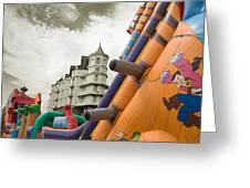 Childrens Play Areas Contrast With The Victorian Elegance Of The Grand Hotel In Llandudno Wales Uk Greeting Card