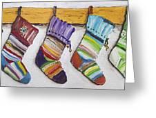Children's  Socks For Christmas Gifts Greeting Card