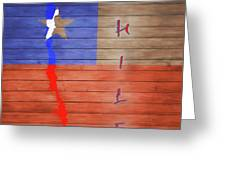 Chile Rustic Map On Wood Greeting Card
