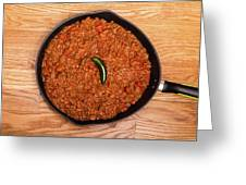 Chili In Black Pan On Wood Table With Jalapeno Pepper Greeting Card