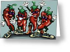 Chili Peppers Gang Greeting Card