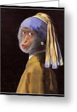 Chimp With A Pearl Earring Greeting Card