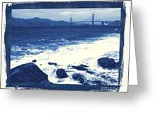 China Beach And Golden Gate Bridge With Blue Tones Greeting Card