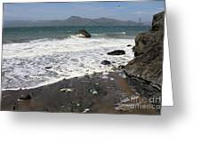 China Beach With Outgoing Wave Greeting Card